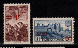 YV 489 & 490 N** Mineurs & Carcassonne Surchargés - Unused Stamps