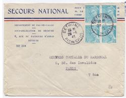 Lettre Oeuvres Du Marechal Petain 0.50 Fr Mercure Secour National Bethune Pas De Calais - Marcophilie (Lettres)