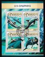 Bloc Feuillet Oblitéré - Les Dauphins Stenella Longirostris Lagenorhynchus Obscurus Tursiops Truncatus - Djibouti 2017 - Dschibuti (1977-...)