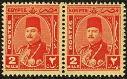 A1236 EGYPT 1944, SG 292  2m King Farouk, MNH Pair - Egypt