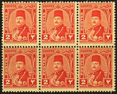 B0670 EGYPT 1944, SG 292  2m King Farouk, MNH Block Of 6 - Egypt
