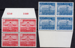 C0448 ESTONIA 1939, SG 150-1  Centenary Of Parnu,  MNH Blocks Of 4 - Estonia