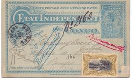 Congo Belge Carte-lettre N° 17 Oblitérée Et Recommandée- Partie Réponse Non écrite - Entiers Postaux