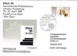 29709. Carta BONN (Alemania Federal) 1989. Expo Philatelische IPHLA 89 - [7] República Federal