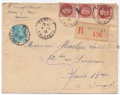 Lettre Pour Le Secretaire  Du Marechal Petain 1.50 Fr Petain X 3 + 0.50 Fr Mercure Recommandée D Evrecy Calvados - Marcophilie (Lettres)