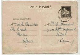 Algérie Algeria Entier Type Mosquée Tlemcen 17/9/1941 Lettre Stationary Cover - Algeria (1924-1962)