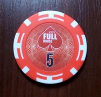 CASINO TOKEN 5 Kyiv FULL HOUSE Poker Club UKRAINE FISH FICHES CHIPS JETON 39,8mm - Casino