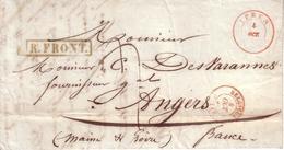 BELGIQUE - LETTRE DEPART YPRES POUR ANGERS , CACHET ROUGE BELGIQUE LILLE + MARQUE R. FRONT + TAXE - 1848 - 1830-1849 (Belgique Indépendante)