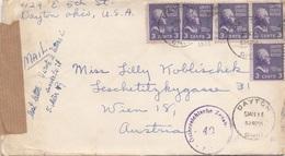 USA 1953 - 5 Fach MEF Auf Zensur-Brief Mit Inhalt Gel.v. Dayton > Wien 18 - Vereinigte Staaten