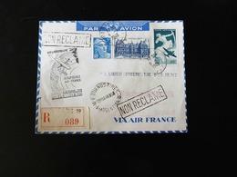 LETTRE RECOMMANDEE  20 IEME ANNIVERSAIRE AEROPOSTALE AIR FRANCE   FRANCE - AMERIQUE DU SUD AVEC VIGNETTE - Airmail