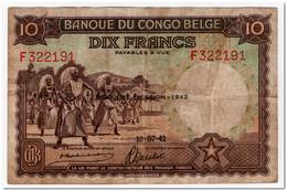 BELGIAN CONGO,10 FRANCS,1942,P.14B,VF,FEW PINHOLES - Congo