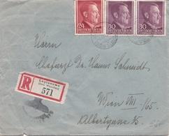 DEUTSCHES REICH 1941 - 24 + 30 + 30 Pfg Auf R-Brief Gel.v. LEGIONOWO, Distr.Warschau > Wien VIII - Deutschland