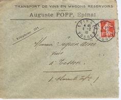 Enveloppe En-tête - VOSGES - Auguste POPP - Transport De Vins En Wagons - EPINAL - Documentos Históricos