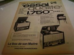 ANCIENNE PUBLICITE ESSAI QUALITE  PATHE MARCONI 1954 - Music & Instruments