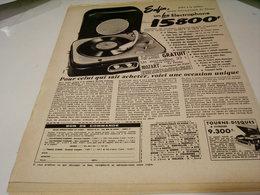 ANCIENNE PUBLICITE ELECTROPHONE VALISE 1954 - Musique & Instruments