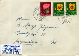 SWITZERLAND: DAILY COVER SENT TO DENMARK#TOPICS#FLOWERS # SERIE(S) (LEC-300-1 (13) - Lettres & Documents