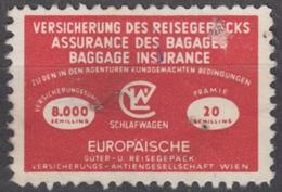 AUSRIA Wien - TRAIN RAILWAY Travel / Travel Baggage Insurance REVENUE Stamp - Used Vignette Label - 20 Sch. - Revenue Stamps