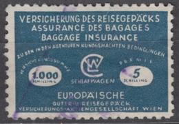 AUSRIA Wien - TRAIN RAILWAY Travel / Travel Baggage Insurance REVENUE Stamp - Used Vignette Label - 5 Sch. - Revenue Stamps
