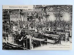 C.P.A. : 54 NANCY : Etablissement Emile CAHEN, Vue D'ensemble De L'Atelier De Tricotage, Animé - Nancy