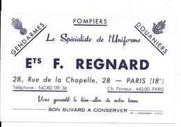 Buvard Ancien BLEU - F.REGNARD Paris Uniformes GENDARMES POMPIERS DOUANIERS Reproductions Litho.insignes Cannetilles - Textile & Clothing