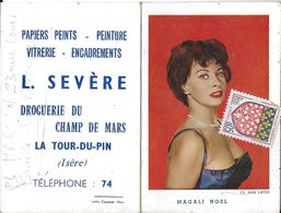 CALENDRIER 1963 MAGALI NOEL CHANTEUSE  ACTRICE CINÉMA PUBLICITÉ DROGUERIE LA TOUR-DU-PIN 38 ISÈRE - Calendars
