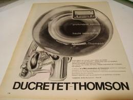 ANCIENNE PUBLICITE PROFONDEUR SONORE DUCRETET THOMSON 1959 - Music & Instruments
