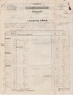Facture 1852 /Jacques AMOS / Fabrique Bonneterie Laine / Chaussons De Strasbourg / Taxe 25 / 67 Strasbourg - France