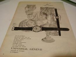 ANCIENNE PUBLICITE RARE  MONTRE UNIVERSAL GENEVE 1959 - Jewels & Clocks