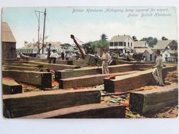 Carte Postale : BELIZE, BRITISH HONDURAS : Mahogany Being Squared For Export - Belice
