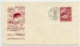 CZECHOSLOVAKIA 1947 Two-year Plan 2.40 Kc On FDC.  Michel 513 - FDC