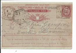 Italien A 22  -  10 Cmi  Umberto Postanweisung Von Rom Nach Livorno Verwendet - 1878-00 Humbert I