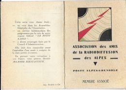 CARTE  ASSOCIATION DES AMIS DE LA RADIODIFFUSION DES ALPES POSTE ALPES GRENOBLE DATEE 01/02/1934 RADIO TRANSMISSIONS - Autres