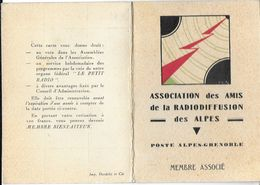 CARTE  ASSOCIATION DES AMIS DE LA RADIODIFFUSION DES ALPES POSTE ALPES GRENOBLE DATEE 01/02/1934 RADIO TRANSMISSIONS - Radio & TSF
