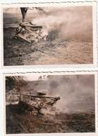 Rare 2 Photos Deux Chars Américains En Feu à Baumholder - 1939-45