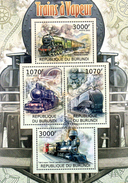 Burundi Block 2012 Dampflokomotiven Gezähnt  **/MNH - Treni