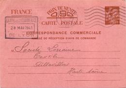 Entier Iris Carte Commerciale Carcassonne Aude Lyon Par Paris Pour Aillevillers Haute Saone - Marcophilie (Lettres)