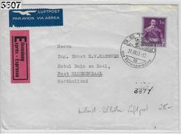 1953 Jenatsch 249/383 Expres Par Avion - Gstaad 31.VII.53 Via Haarlem-Station To Bloemendaal - Switzerland
