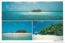 ASIE - MALDIVES - 3 Vues - 1 Timbre Philatélique Au Verso, Voir Scan - Cpm - écrite - - Maldives