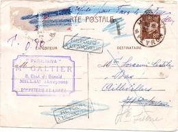 Entier Petain De Millau Aveyron Pour Aillevillers Haute Saone Retour A L Envoyeur Pour Taxe  Trace D Epinglage - Postmark Collection (Covers)