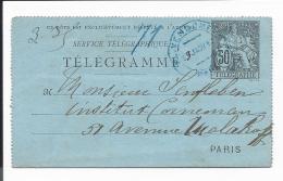 Frankreich RK 8 B  -  50  C. Allegorie Rohrpost- Kartenbrief O. Rd.  In Paris Bedarfsverwendet - Entiers Postaux
