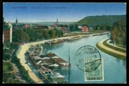 Deutsches Reich Saargebiet 1920 Postkarte Saarbrücken Partie A.d. Saar Mit Winterberg - Saarbruecken