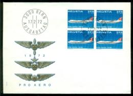 Zwitserland 1972 FDC Boeing 747 In Blok Van 4 Geen Adres En Open Envelop - FDC