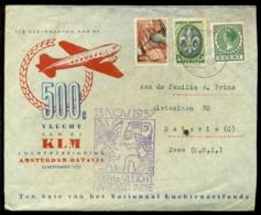 Nederland 1937 Luchtpostbrief 500e Vlucht 13 November Amsterdam-Batavia Met Zend- En Ontvangsstempel - Briefe U. Dokumente