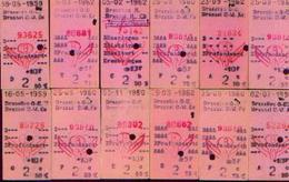 S.N.C.B – Lot De 12 Billets « BRUXELLES – PROFONDSART » – Datés De 1959/62 Affichant Des Réductions De 50 Et 75 % - Chemin De Fer