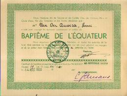Certificat De Baptême De L'EQUATEUR (1950) Délivré à Bord Du Paquebot GOUVERNEUR GALOPIN à VAN DER AUWERA, Henri - Boten