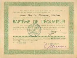Certificat De Baptême De L'EQUATEUR (1950) Délivré à Bord Du Paquebot GOUVERNEUR GALOPIN à VAN DER AUWERA, Andrée - Bateaux