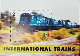 O) 2014 GUYANA, TRAIN FROM MEXICO - RAYWALS - INTERNATIONAL TRAINS, SOUVENIR MNH - Guyana (1966-...)