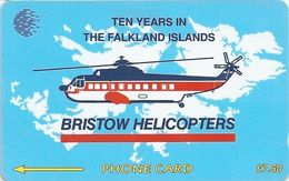 Falklands - 10 Years Bristow Helicopters, 2CWFA, 1993, 35.000ex, Used - Falkland Islands