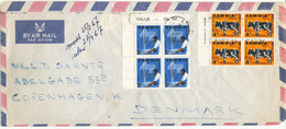 Zambia Air Mail Cover Sent To Denmark1967 With 2 Blocks Of 4 - Zambia (1965-...)