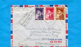 Marcophilie-lettre Indochine-Sud Vietnam >Françe-c Ad  1957-cachet 7-7- 1957 Ky Niem De ..-3-stamp N°43+5 -8ngo Din Diem - Lettres & Documents